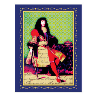 French King Louis XIV the Great Sun King Postcard