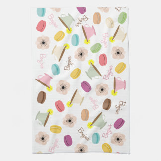 French Macarons Anemones & Teacups Kitchen Towel