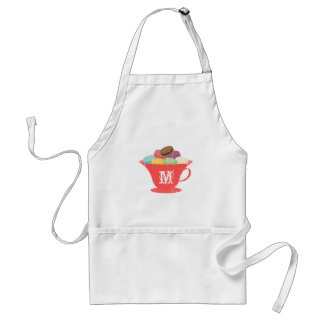 French Macarons In Red Teacup Monogram Apron