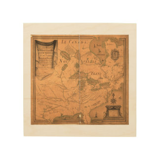 French Map of North America by Franquelin (1685) Wood Print