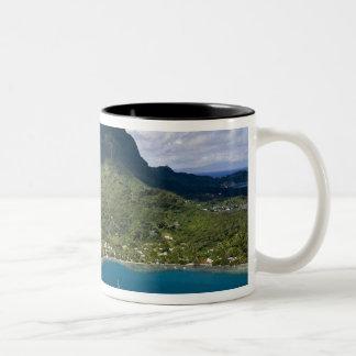French Polynesia, Bora Bora. Aerial view of Two-Tone Coffee Mug