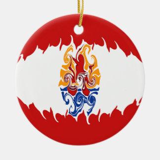 French Polynesia Gnarly Flag Christmas Ornament