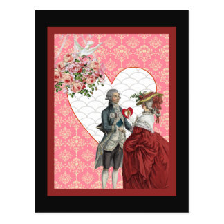 French Rococo Couple and Pink Damask Valentine Postcard
