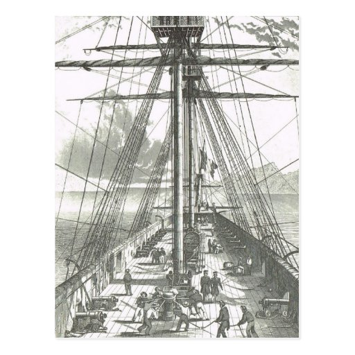 French Ship of the line 1800s On deck activities Postcard