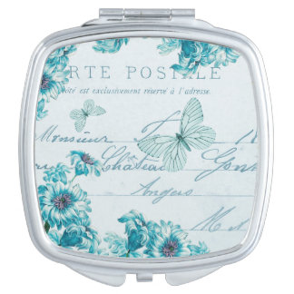 French vintage floral mirror w/ blue flowers compact mirror