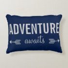 Fresh Blue Typography Adventure Seeker Decorative Cushion