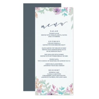 Fresh Floral Watercolor Wedding Menu 10 Cm X 24 Cm Invitation Card