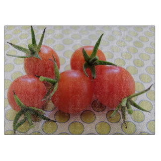 Fresh Red Cherry Tomatoes. Cutting Boards