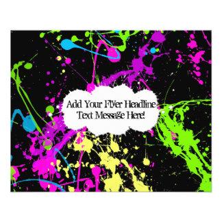 Fresh Retro Neon Paint Splatter on Black 11.5 Cm X 14 Cm Flyer