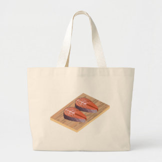 Fresh Salmon Red Fish Slices Large Tote Bag