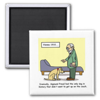 Freud's Dog Cartoon Square Magnet