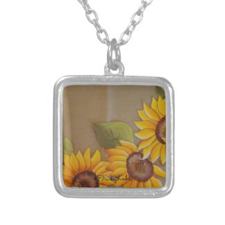 Frida Kahlo Painted Sunflowers Silver Plated Necklace