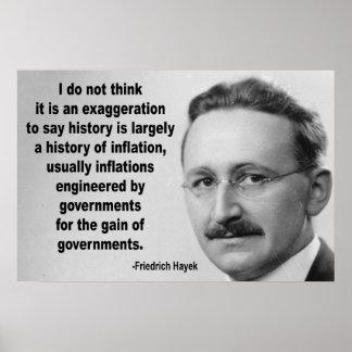 Friedrich Hayek Inflation Quote Poster