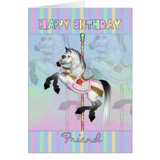friend carousel birthday card - pastel carousel ho