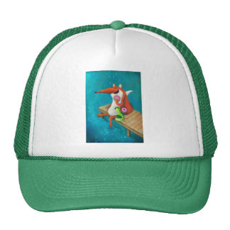 Friendly Fox and Chicken eating donuts Cap