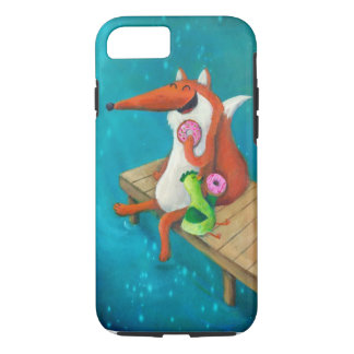 Friendly Fox and Chicken eating donuts iPhone 7 Case