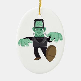 Friendly Smiling Frankenstein's Monster Walking Christmas Ornament