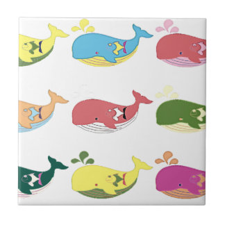 Friendly Whales Small Square Tile