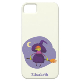 Friendly witch flying on broom at night halloween barely there iPhone 5 case