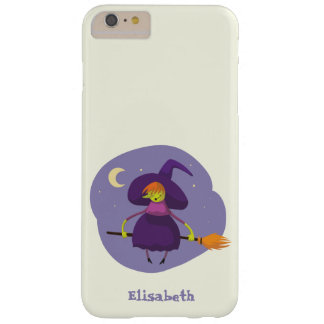 Friendly witch flying on broom at night halloween barely there iPhone 6 plus case