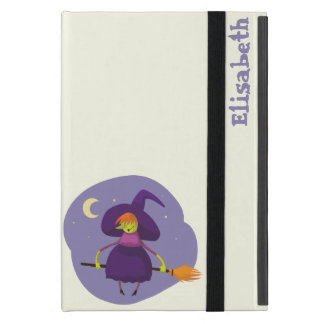 Friendly witch flying on broom at night halloween iPad mini case
