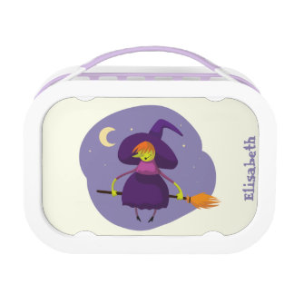 Friendly witch flying on broom at night halloween lunchbox