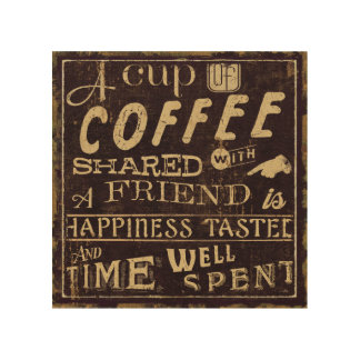 Friends and Coffee Wood Print