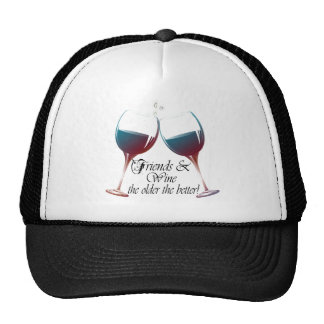 Friends and Wine the older the better Wine art Mesh Hats