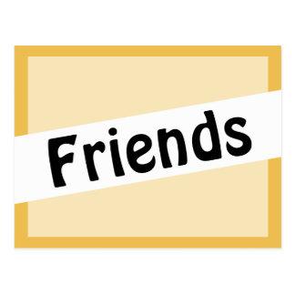 Friends Hobo Font Gold Color Postcard