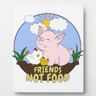 Friends Not Food - Cute Pig and Chicken Plaque
