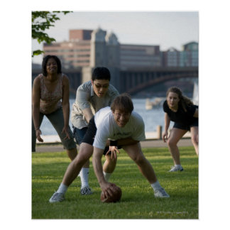 Friends playing game of football print