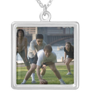 Friends playing game of football square pendant necklace