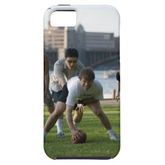 Friends playing game of football tough iPhone 5 case