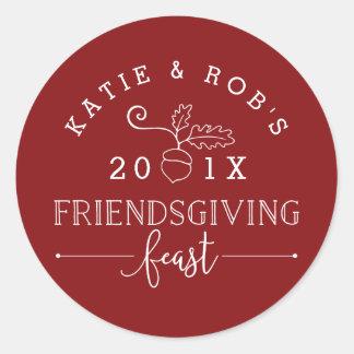 Friendsgiving Feast Thanksgiving Round Sticker