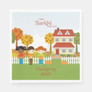 Friendsgiving Thanksgiving Feast Disposable Serviettes