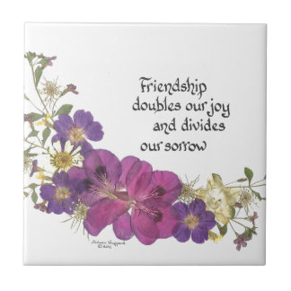 Friendship and flowers tile