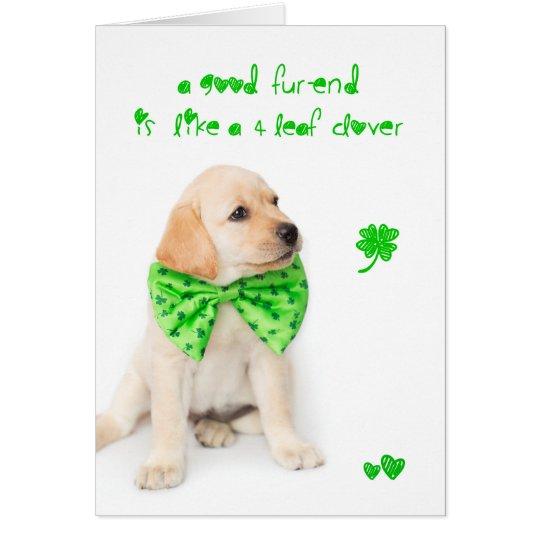 Friendship St Patricks Day Puppy Card