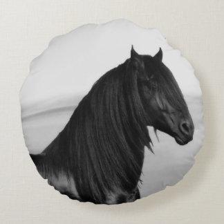 Friesian black stallion horse round cushion