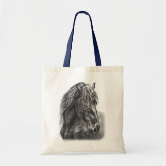 Friesian Horse Portrait Wavy Mane Tote Bag