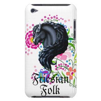 Friesian horse, stallion, folk art flowers iPod touch Case-Mate case
