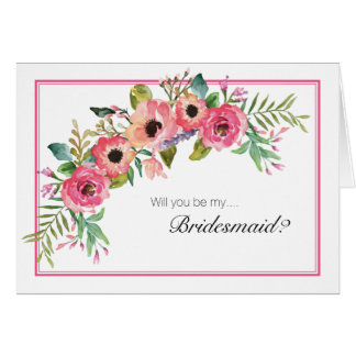 Frilly Floral Will You Be My Bridesmaid Card