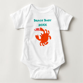 Frisbee Crab Beach Baby Personalised Baby Bodysuit