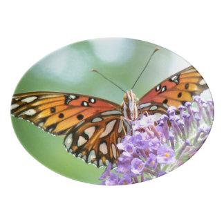 Fritillary Butterfly Floral Serving Platter