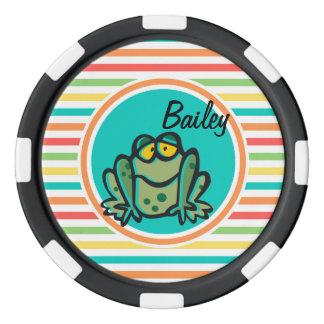 Frog; Bright Rainbow Stripes Poker Chips