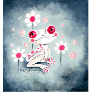Frog Girly Pink Cute Standing Photo Sculpture