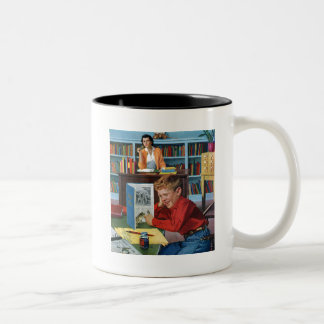 Frog in the Library Two-Tone Coffee Mug