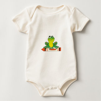 Frog on Crayon Rompers