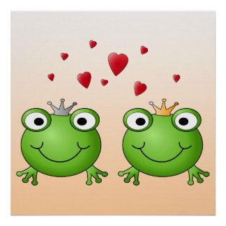 Frog Prince and Frog Princess, with hearts. Poster