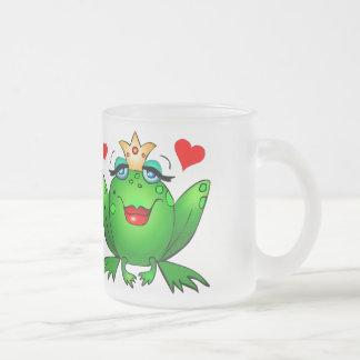 Frog Prince and Princess Hearts Cute Cartoon Frogs Mug