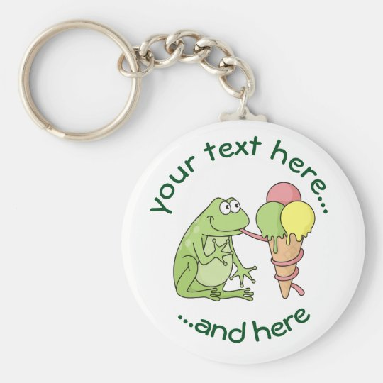 Frog with Icecream Basic Round Button Key Ring